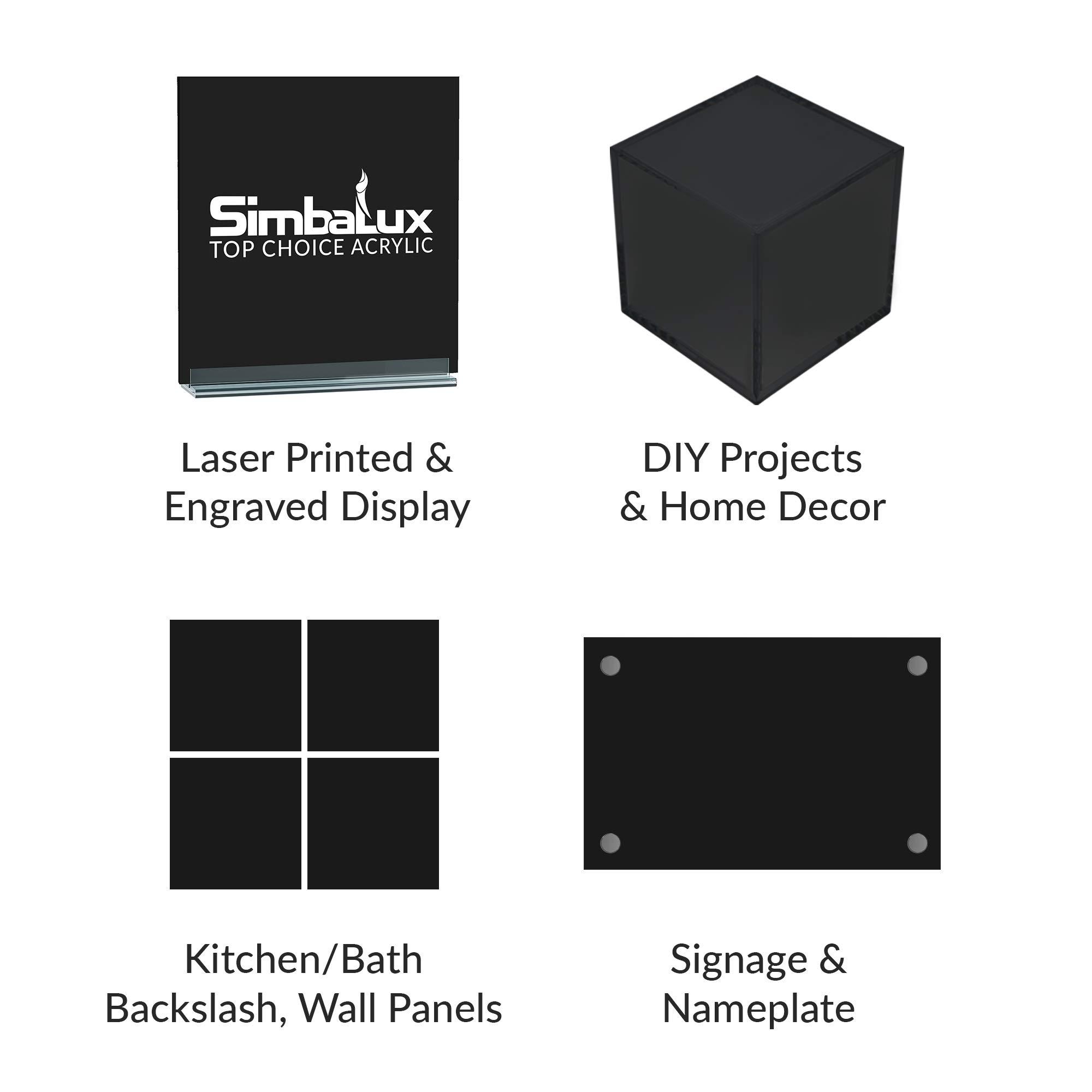"Easy to Cut SimbaLux® Acrylic Sheet Black 12""x12"" 1//4"" Thick 6mm Plexiglass"