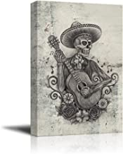 wall26 - Canvas Print Wall Art - Day of The Dead (Dia De Los Muertos) Themed Art Skull Playing Guitar - Gallery Wrap Modern Home Decor | Ready to Hang - 16x24 inches