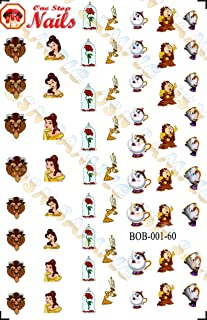Beauty and the Beast V1. Set of 60 clear waterslide nail art decals (Tattoo).