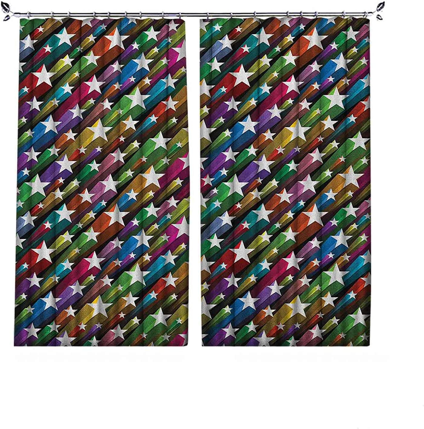 90% Ranking TOP3 Blackout Colorful Curtains Max 64% OFF Pattern Stars Celebrati