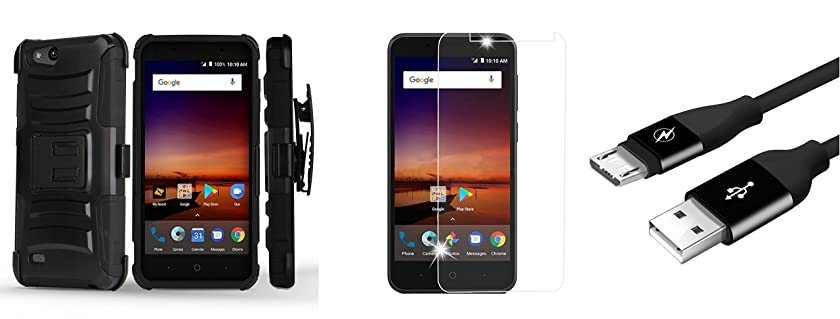 ZTE ZFive C LTE Z558VL - Bundle: Dual Layer Rugged Kickstand Belt Holster Case (Black), Tempered Glass Screen Protector, Durable [5000+ Bends Lifespan] Micro USB Cable, Atom Cloth