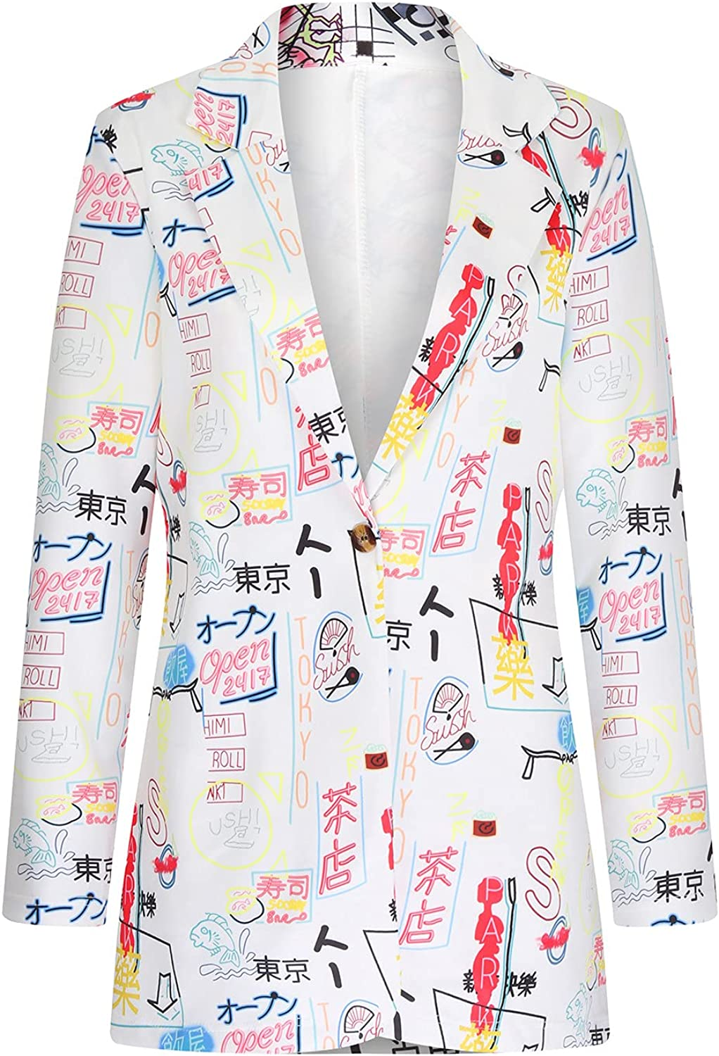 Womens Casual Blazers Open Front Long Sleeve Cardigans Graphic Print Shirts Work Office Jackets Loose Tops