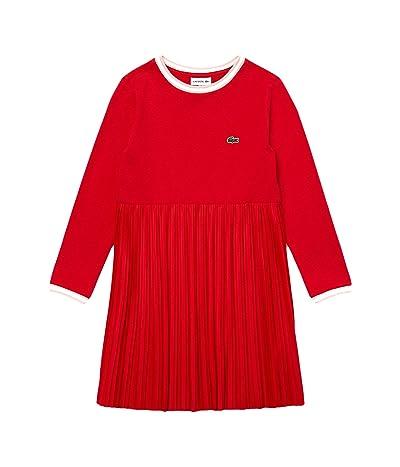 Lacoste Kids Long Sleeve Pleated Dress (Toddler/Little Kids/Big Kids) (Red/Nidus/White) Girl