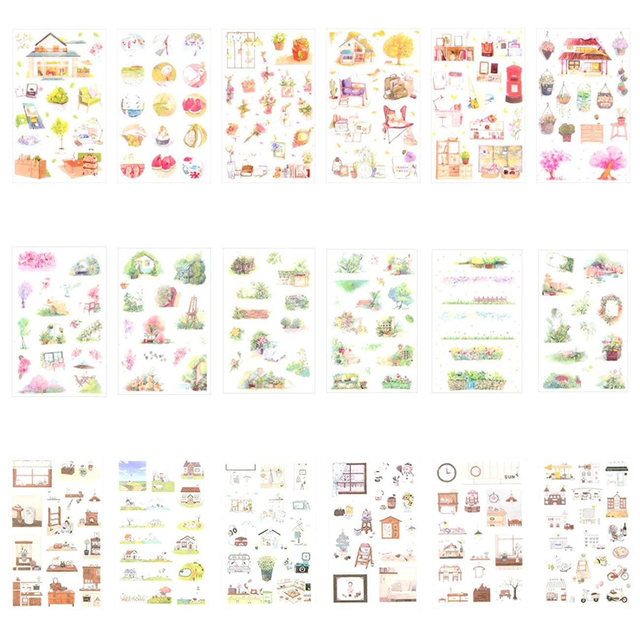 Cute Scrapbooking Diary Book Album Phone Decorative Adhesive Sticker Stationery Stickers Set DIY Craft Label
