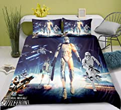 Ruiqieor Parure de lit Star Wars 220 x 240 cm, 3 pièces – Housse de couette et taie d'oreiller, 100 % microfibre, impressi...