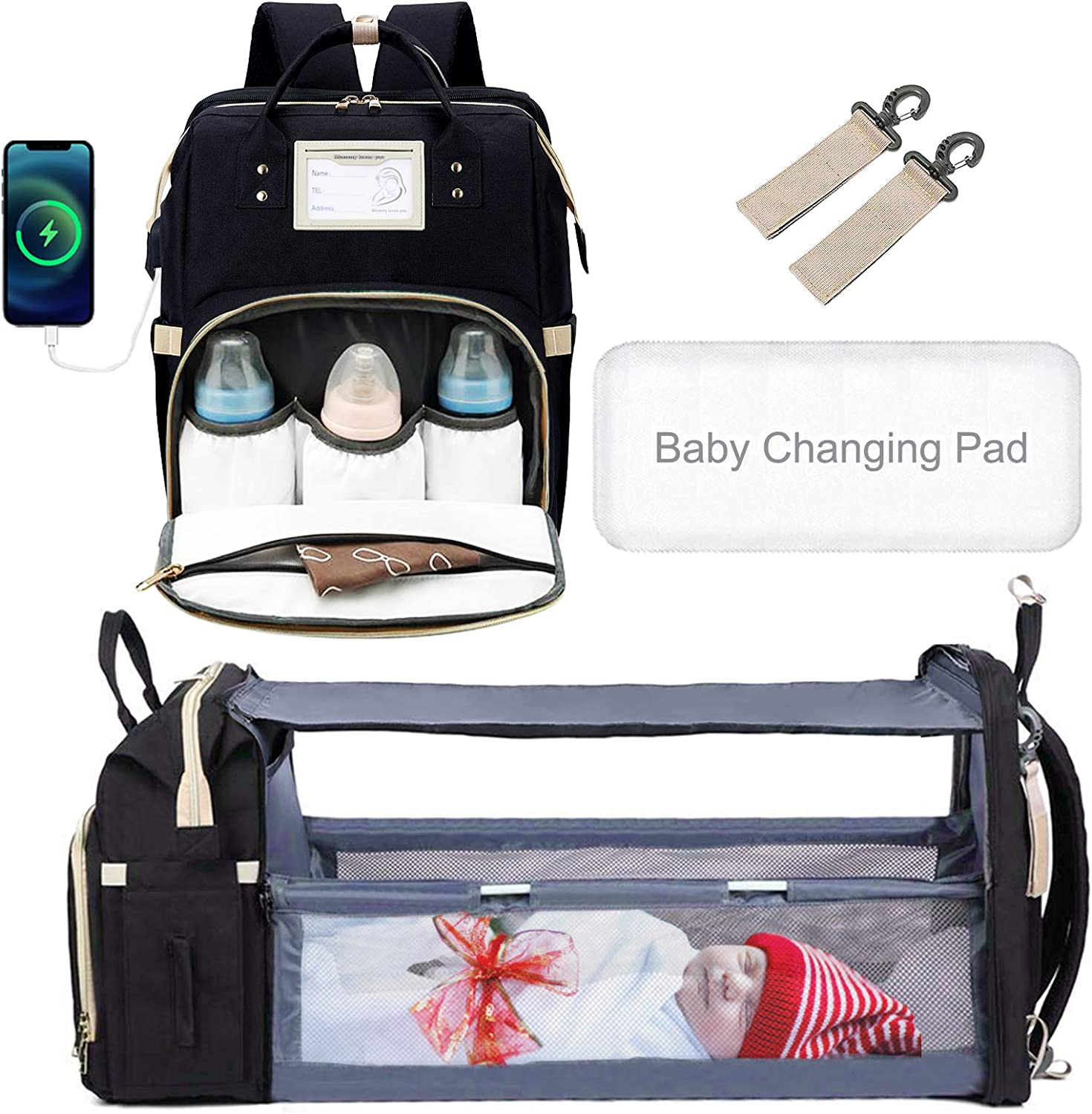 Baby Diaper Bag Backpack with Changing Station, 55L Travel Diaper Bag with Foldable Mat Bed, Waterproof Large Capacity Mummy Bag for Outdoor Shopping Camping Black