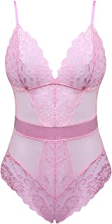 Cherrydew Womens Sexy Teddy Lace Lingerie One Piece Bodysuit Outfits Mesh Babydoll - Pink - XX-Large