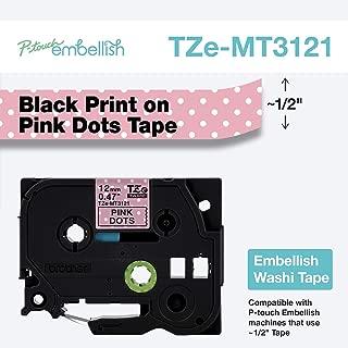 Brother P-Touch Embellish Black Print on Pink Dots Washi TZeMT3121 Matte Tape,