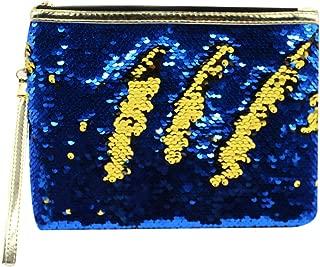 Aibearty Women Girls Mermaid Sequin Envelop Handbag Reversible Glitter Makeup Pouch Cosmetic Bag Party Clutch Handbag one size Blue