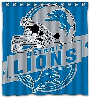 Felikey Custom Detroit Lions Waterproof Shower Curtain Colorful Bathroom Decor Size 66x72 Inches