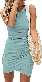 فساتين قصيرة للنساء من BTFBM كاجوال بياقة مستديرة مكشكشة بدون أكمام ضيقة 2021 قميص قصير