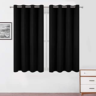 LEMOMO Black Blackout Curtains 52 x 63 Inch Length/Set of 2 Curtain Panels/Thermal Insulated Room Darkening Curtains for B...