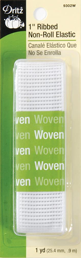 Dritz 9302W Ribbed Non-Roll Woven Elastic, White, 1-Inch by 1-Yard