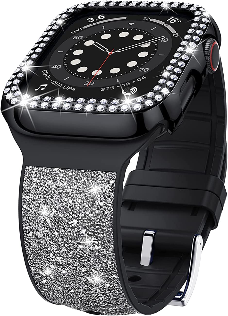VEGO Bling Band Compatible with Apple Watch Band for Women + Rhinestone Diamond Case, Glitter Bracelet Wristband Strap with Bling Bumper Protective Cover for iWatch SE Series 6/5/4/3/2/1
