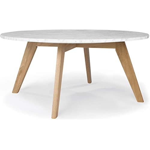 Poly And Bark Riley Real Marble Top End Side Coffee Table Round 30 Inch Natural Kitchen Dining Amazon Com