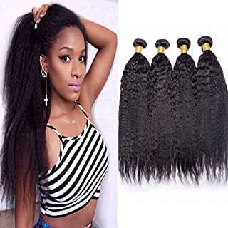 Maxine 9A 100% unprocessed Yaki Straight Wave Hair Extensions Weft Weave Natural Black Color 3 Bundles Virgin Remy Human Hair Same Length 100g/pcs(10 12 14 inch)