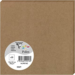 Clairefontaine Pollen 29018 °C 25 张卡片 13.5 x 13.5 cm 200 克 牛皮纸褐色