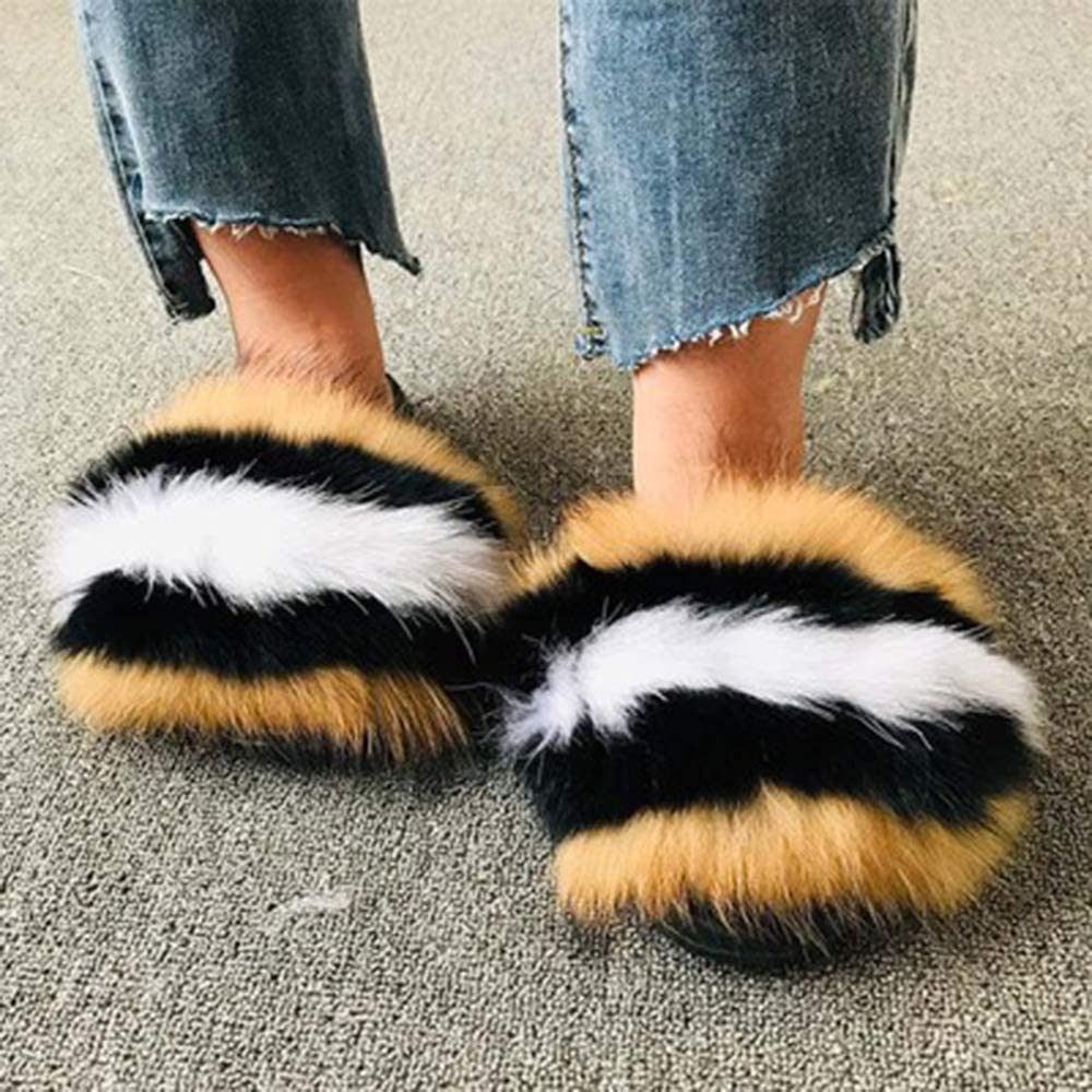 OcaseQ Womens Ladies Fur Tampa Mall Slippers Open T Outlet SALE Sliders Fluffy Platform