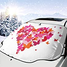 Car Front Window Windshield Snow Cover, Stylish Heart Figure Filled with Butterflies Soul Mate Real True Deep My Dear Valentines,Car Sunshades Thicker Waterproof Guard Cover (57.946.5)