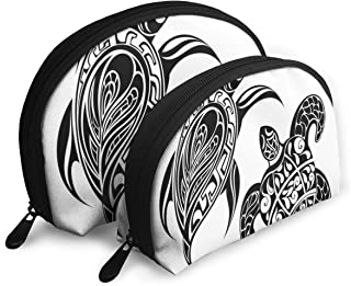 Shell Shape Makeup Bag Set Portable Purse Travel Cosmetic Pouch,Tribal Style Spiritual Sacred Ethnic Featured Loggerhead Art Figures Print,Women Toiletry Clutch