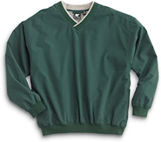 WH. Bear Men's Fully Lined V-Neck Golf and Wind Shirt - Forest Green/Putty, Large Tall