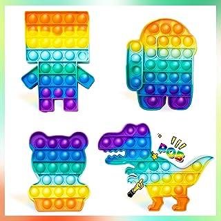 HYVXENT 4PCS Rainbow Pop Up It Push Bubble Fidget Toys...