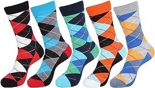 5 Pares Mujeres Geométrica Calcetines de Colores Estampados Cómodo y Transpirable Hombres Moda Calcetines de Algodón Hombre y Mujer E611-3