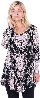 1c28bda3924 Popana Women s Tunic Tops for Leggings Long Sleeve Shirt Plus Size Made in  USA