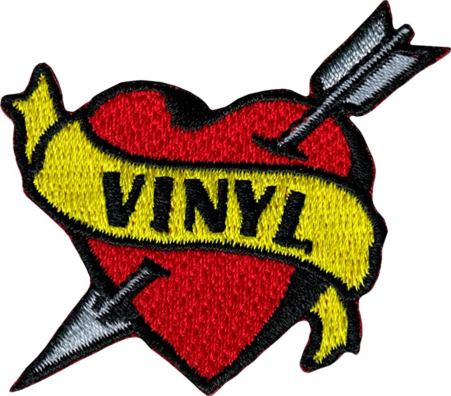 Vinyl Banner on Heart with Arrow - Tattoo Flash Style - Embroidered Iron On or Sew On Patch