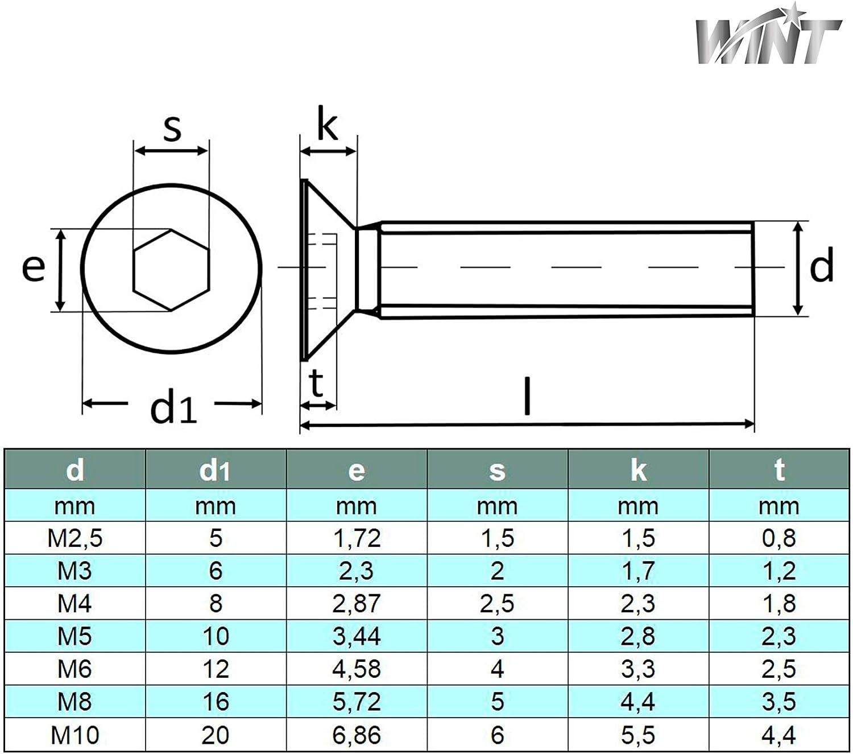 WINT/® ISO 10642 ● Senkkopfschrauben mit Innensechskant M5x6 ● 5 St/ück ● rostfrei ● Edelstahl VA A2 V2A ● Senkkopf-Schrauben ● Senk-Schraube ● Vollgewinde DIN 7991
