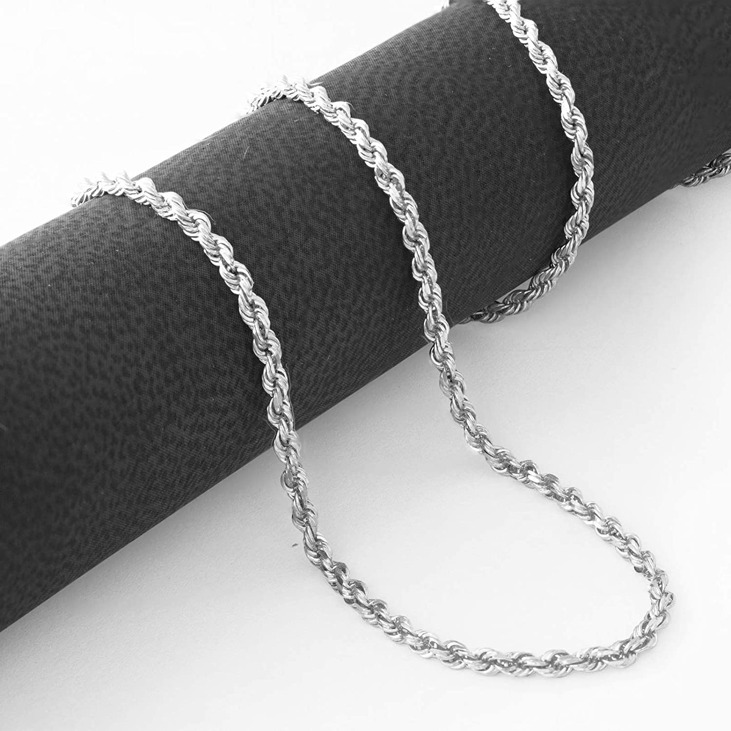 Nuragold 10k White Gold 1.8mm Rope Chain Diamond Cut Pendant Necklace, Womens Mens Jewelry 14