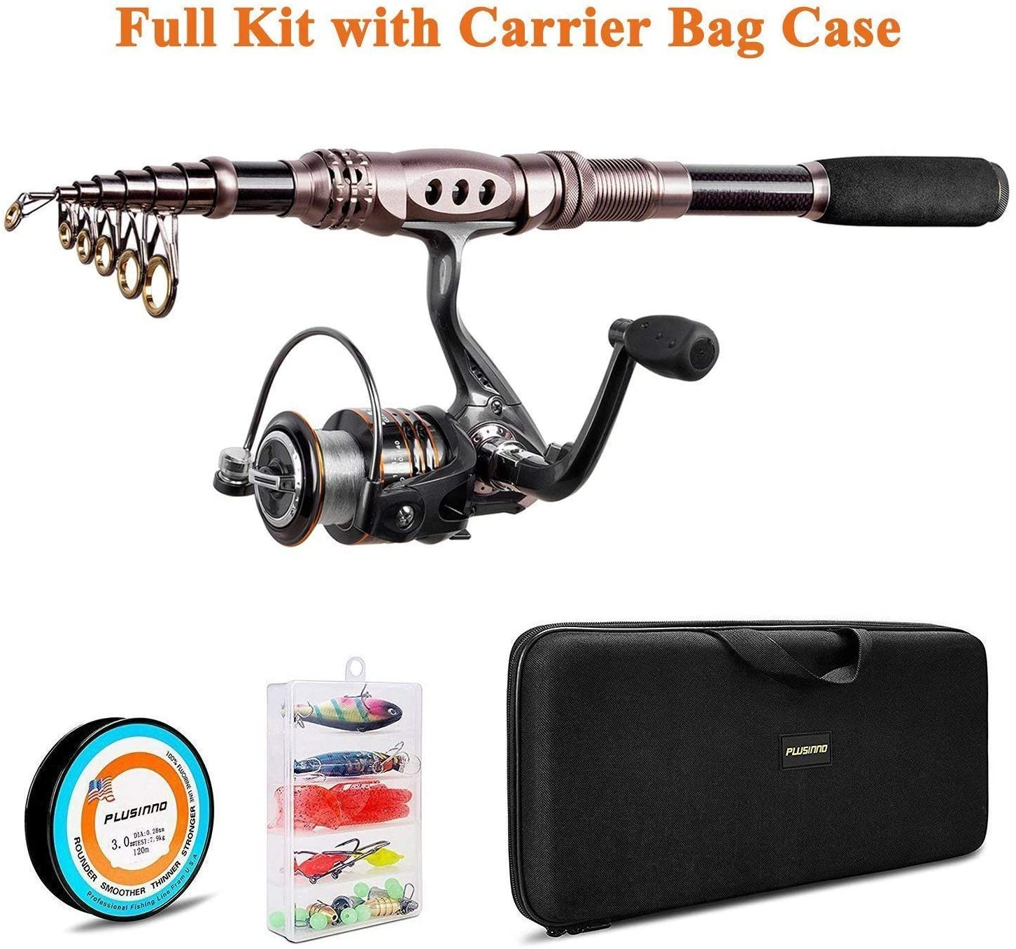 PLUSINNO Fishing Rod and Reel Combos Carbon Fiber Telescopic Fishing Rod with Reel Combo Sea Saltwater Freshwater Kit Fishing Rod Kit : Sports & Outdoors