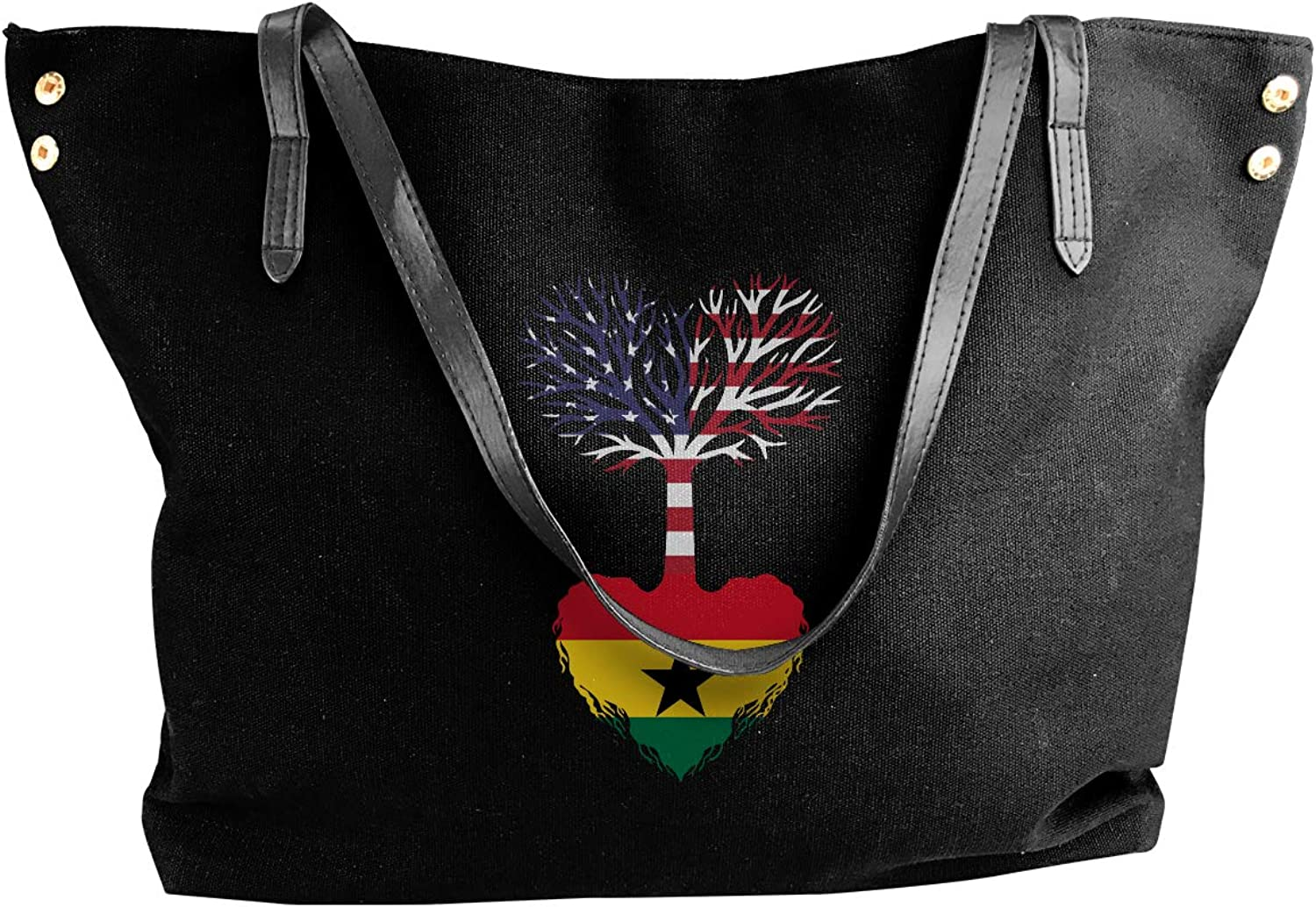 American Grown Ghana Root Women'S Casual Canvas Handbag For Travel Work Bag