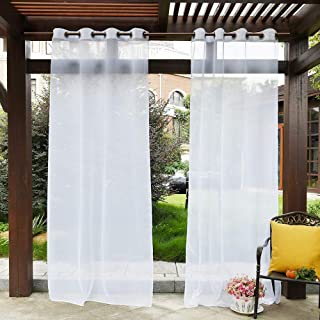PONY DANCE Outdoor Sheer Curtains - Patio Voile Panel Indoor/Outdoor Water Resistant Grommet Top Waterproof Curtain with Ropes for Gazebo, 54