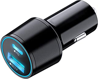 USB C Car Charger, Total 36W 2-Port Fast Charging Adapter with PD & QC 3.0 Compatible with iPhone 12 Mini 11 Pro X XR XS M...