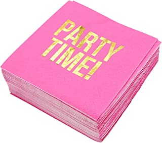 Hot Pink Paper Napkins, Party Time Party Supplies (5 x 5 In, Gold Foil, 50 Pack)