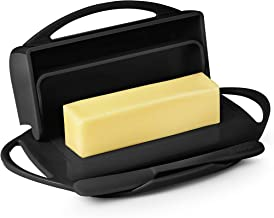 black toast butter dish