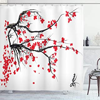Ambesonne Nature Shower Curtain, Sakura Blossom Japanese Cherry Tree Garden Summertime Vintage Cultural Print, Cloth Fabric Bathroom Decor Set with Hooks, 70
