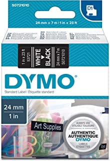 Dymo 24 mm x 7 m Roll D1 Labels, Self-Adhesive Labels for LabelManager Label Printers, Authentic, White Print on Black