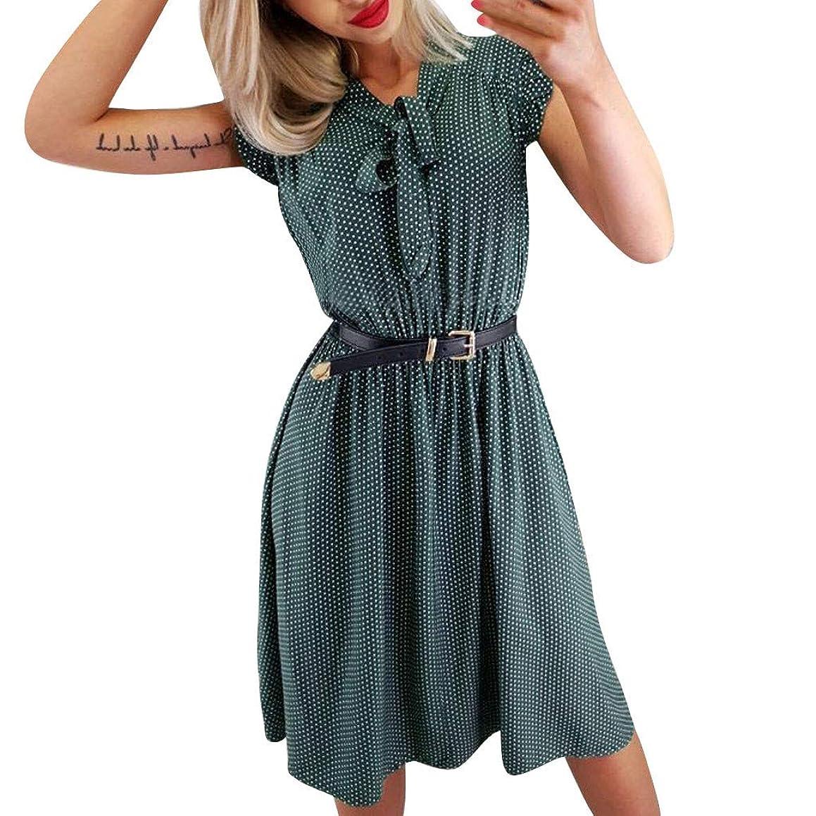 POPNINGKS Women's Vintage Dress,Casual Halter Neck Polka Dot Audrey Hepburn Dress 70s Retro Swing Midi Dresses