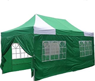 DELTA Canopies 10'x20' Ez Pop up Canopy Party Tent Instant Gazebos 100% Waterproof Top with 6 Removable Sides Green/White - E Model