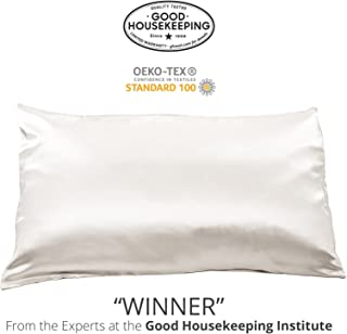 Fishers Finery 25mm 100% Pure Mulberry Silk Pillowcase Good Housekeeping Winner (White, Queen)