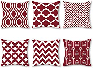 Shenermay Modern Geometric Throw Pillow Cases Burgundy Cozy Print Cushion Covers Stripes Painted for Couch Bed Sofa Fleece Fabric Home Decor Set of 6 18 x 18 Inches