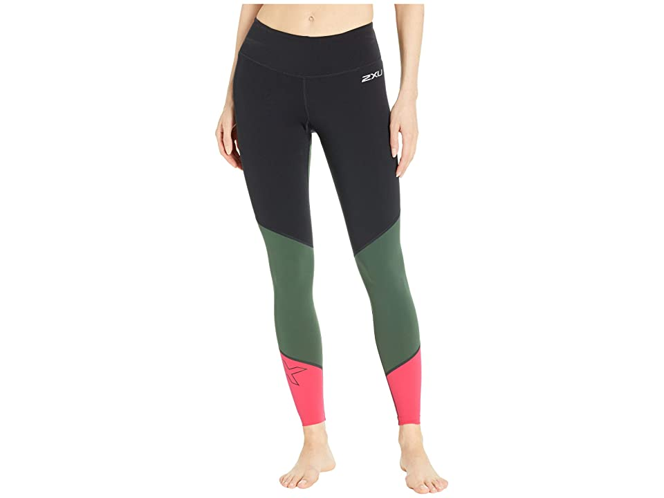 Image of 2XU Fitness Mid-Rise Compression Tights (Black/Mountain View Virtual Pink) Women's Workout