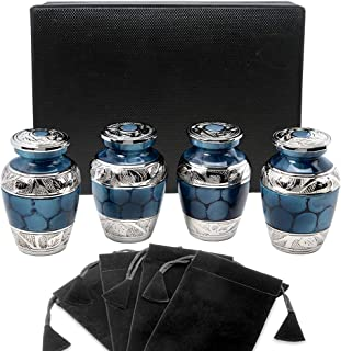 Heavenly Peace Dark Blue Small Keepsake Urns for Human Ashes - Set of 4 - Beautiful Mini Keepsake Sharing Urns to Honor Your Love One - with Case and 4 Individual Velvet Bags
