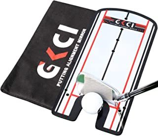 Golf Putting Alignment Mirror - Portable Golf Training Aids Tool with Carrying Case