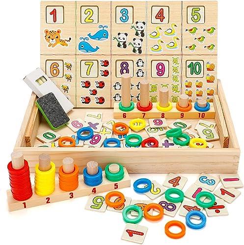 Babyhelen Montessori Boîte d'apprentissage de Math, Jouets Educatifs Scientifiques Tableau en Bois, Jouet de Maternel...