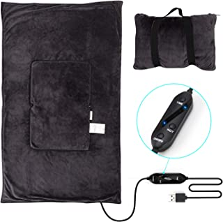 lomitech Travel Electric Heated Blanket Zip into a Pillow with Carrying Strap Microfiber Soft Plush Throw Blanket, Warm Plush for Airplane/Car/Camping