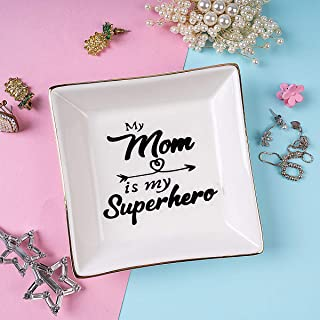 Ueerdand My mom is My Superhero - Birthday Gifts for Mom from Daughter or Son - Christmas Ideas for Women from Boys Girls - Decorative Ceramic Ring Dish