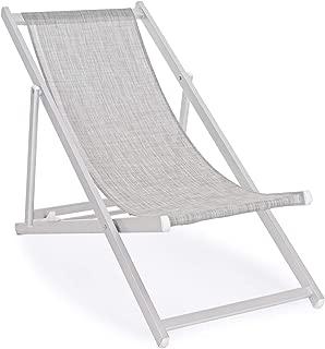 Bizzotto Sdraio da Spiaggia E Piscina Spiaggina 3 Posizioni Struttura in Alluminio 4 X 2 Cm Texilene Rinforzato Colore Grigio